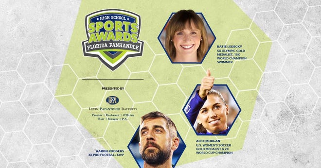 Three-time NFL MVP Aaron Rodgers, two-time FIFA World Cup Champion Alex Morgan and five-time Olympic gold medalist Katie Ledecky will be among a highly decorated group of presenters and guests for the Florida Panhandle High School Sports Awards.