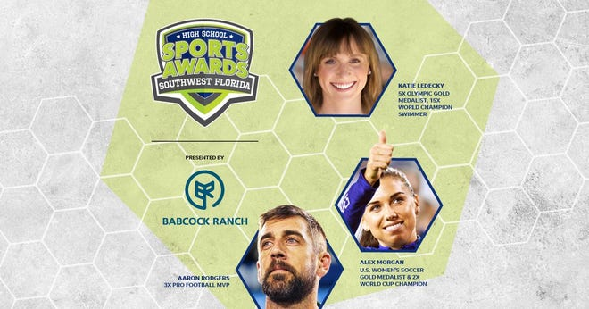 Three-time NFL MVP Aaron Rodgers, two-time FIFA World Cup Champion Alex Morgan and five-time Olympic gold medalist Katie Ledecky will be among a highly decorated group of presenters and guests for the Southwest Florida High School Sports Awards