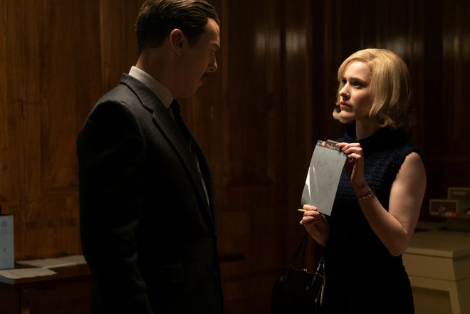"Greville Wynne (Benedict Cumberbatch) and CIA agent Emily Donovan (Rachel Brosnahan) in Moscow in ""The Courier."" Donovan is a composite character, Wynne was arrested in Budapest, not Moscow."