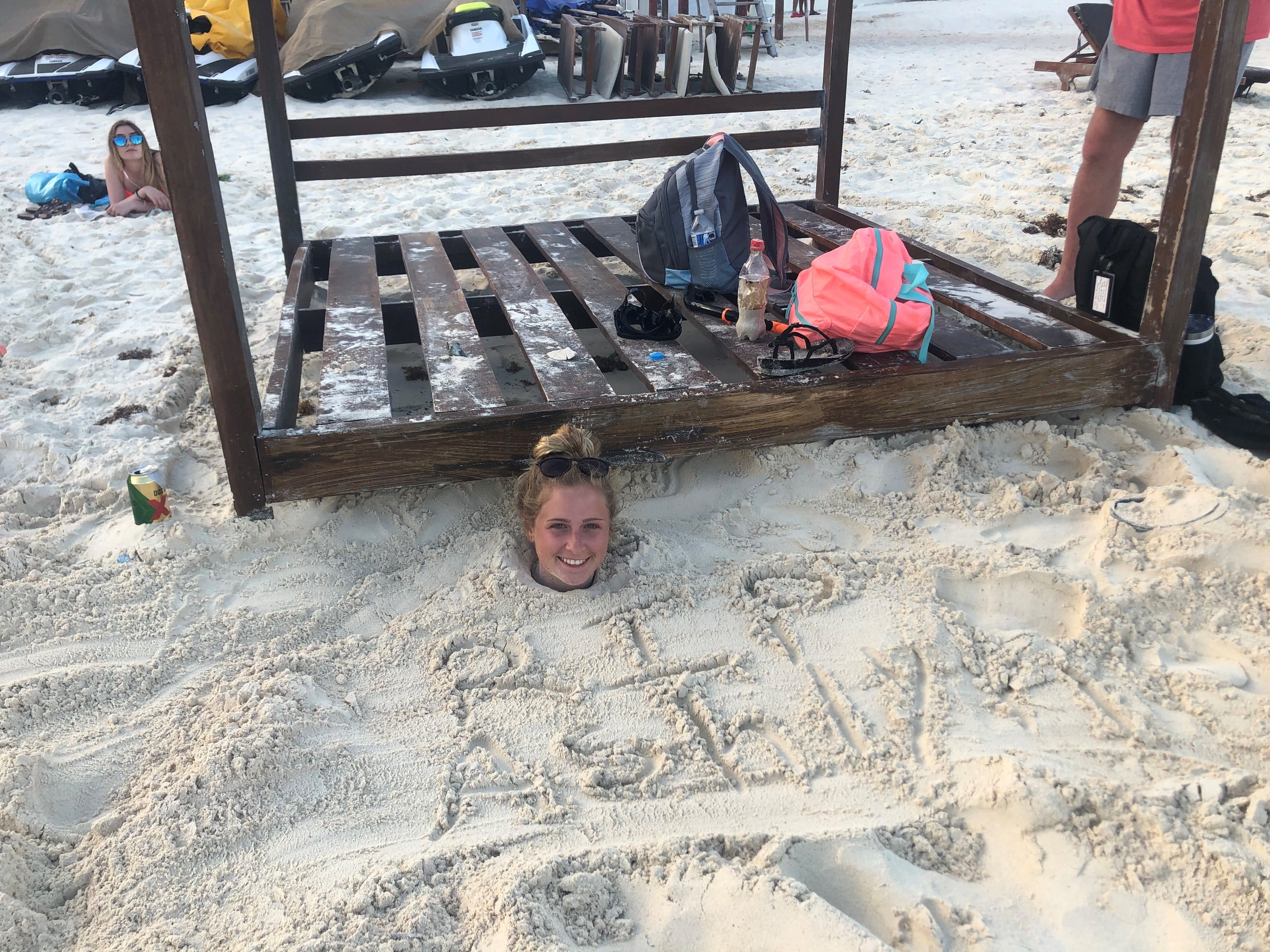 Ashlynn Steed, 22, a college student from Mississippi, was buried in the sand by her boyfriend and his family during a spring break visit to Cancun, Mexico.