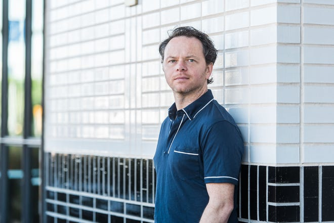 Noah Hawley, the Austin resident and creator of the Fargo TV series, who has a new thriller, Before the Fall, photographed at the South Congress Hotel on May 6, 2016.