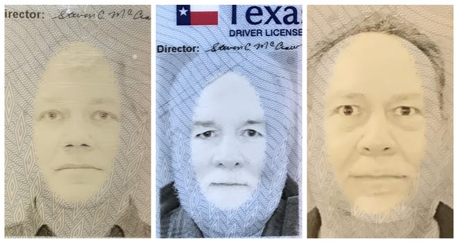From left, Steven Sokol, Bruce Rollman and Stephen Hopper were asked to retake their Texas driver license photos after a computer glitch caused a strange effect because of their pale complexions.