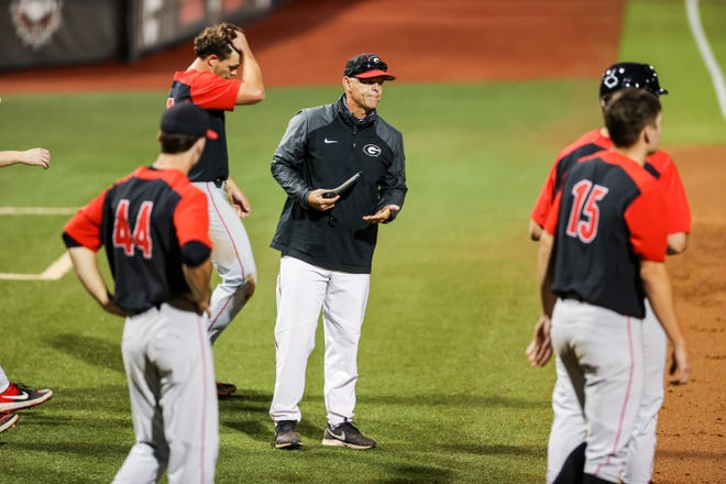 Georgia baseball coach Scott Stricklin during the Bulldogs' Fall World Series at Foley Field in Athens, Ga., on Friday, Nov. 13, 2020. (Photo by Tony Walsh)