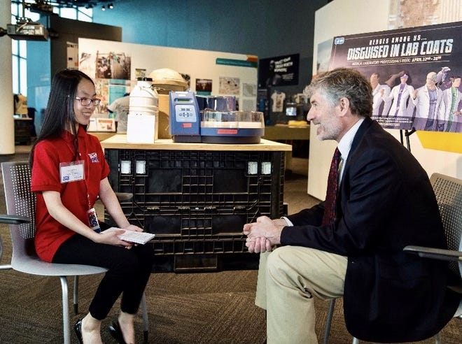 Victoria Feng interviews Ren Salerno of the Centers for Disease Control and Prevention in Atlanta when she was a Scholastic News Kids Press Corps reporter.