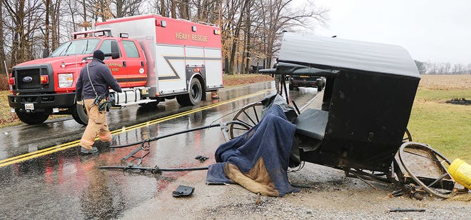 This buggy was damaged Thursday afternoon in a crash with a pickup truck in the 100 block of County Road 1302.