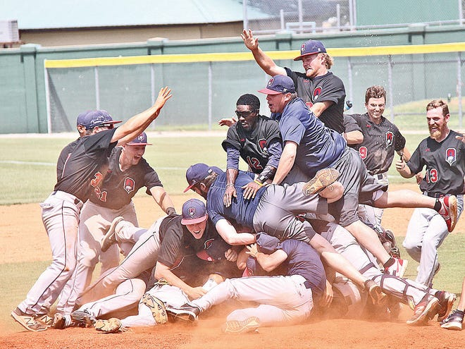 Oklahoma Wesleyan University's baseball team enjoys a powerful reputation from the past decade-plus. Shown is the team's celebration immediately after clinching a spot to the 2017 NAIA World Series.