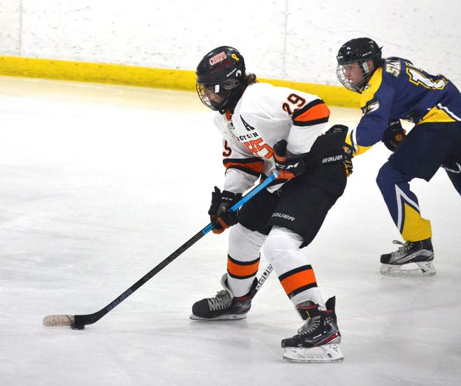 Junior defenseman Alex Clymer (29) scored for the Cheboygan hockey team, but the Chiefs suffered a 3-2 loss to Gaylord in a regional semifinal matchup in Tawas on Thursday.