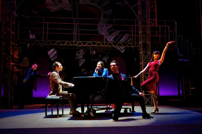 """William Porter, Max Pinson (as Kurt Weill), Victoria Mesa, Ashton Lambert, and Kate Maniuszko in the Otterbein Departments of Theatre & Dance and Music production of """"Into a Lamplit Room: the Songs of Kurt Weill."""""""