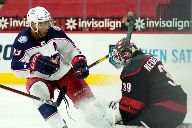 Blue Jackets defenseman Seth Jones was much more visible on the attack in a 3-2 overtime win over Carolina on Thursday, when he scored twice to snap a 19-game goal-less streak.