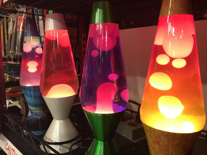 Lava lamps glow inside Spencer Gifts