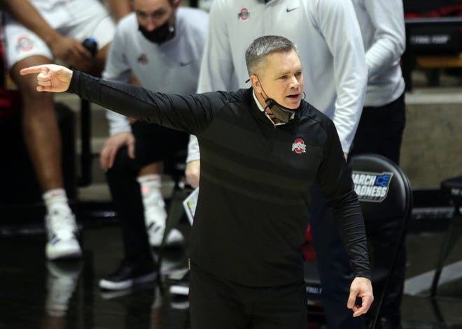 Ohio State Buckeyes Head Coach Chris Holtmann reacts to a call during the first round of the 2021 NCAA Tournament on Friday, March 19, 2021, at Mackey Arena in West Lafayette, Ind.