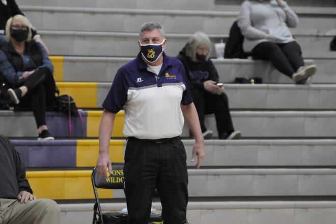 Blissfield head coach Gary Sullivan looks on during a game at Onsted on Friday, March 5. Sullivan helped lead the Royals to their first LCAA title in 2003 and the first Division 2 district since 2004 en route to being named the 2021 Lenawee County Coach of the Year.