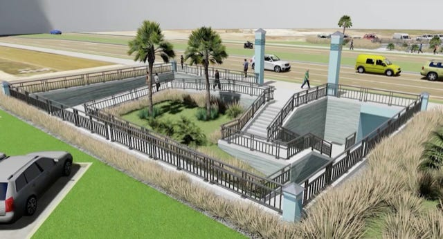 A rendering of an entry way into the Inlet Beach Underpass.