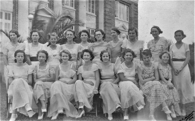 The members of the Young Women's Association in Bunnell lined up for a photo at their garden party in June 1933.