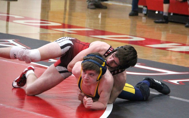 Coldwater's Marshall Hoard, shown here in early season action, went 2-0 in the Cardinal effort Thursday at the District Finals.