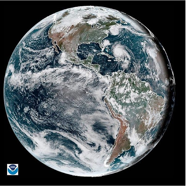 The Earth, pictured at the time of equinox. In the Northern Hemisphere, spring begins on March 20; fall begins six months later, on September 22. NOAA image.