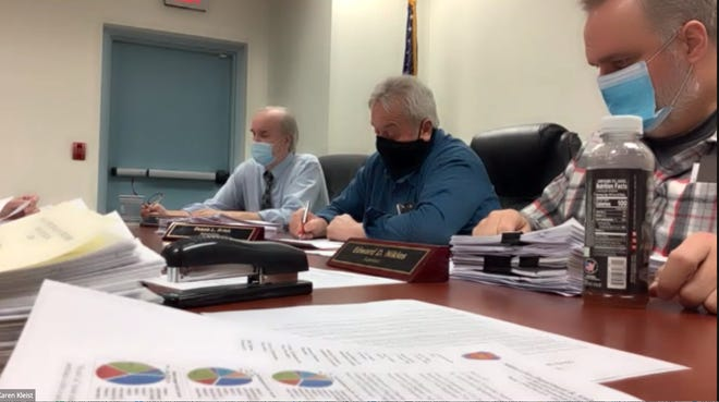 Dingman Township supervisors, at the March 16 zoning hearing held over Zoom. From left: Chairman Thomas Mincer, Dennis Brink and Edward Nikles.