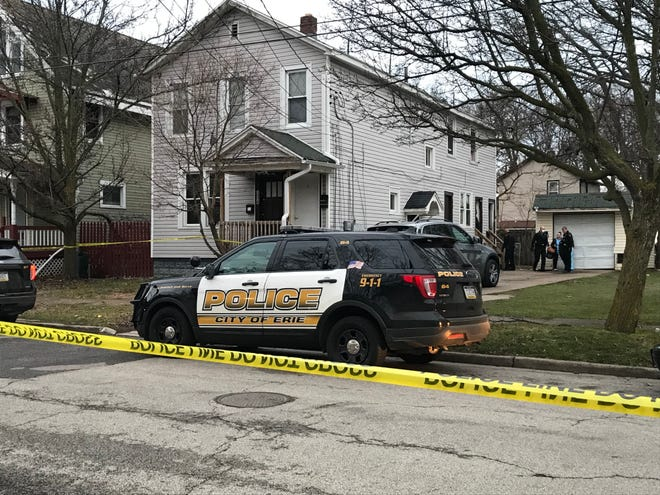 Erie police said a 32-year-old man was shot in the back at this residence in the 300 block of West Second Street Thursday evening.