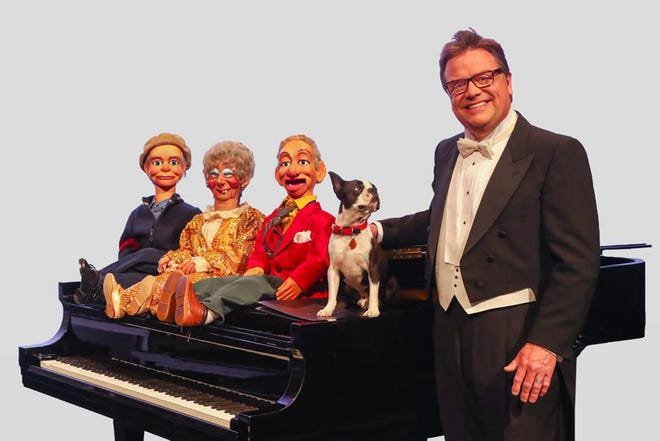 Ventriloquist-musician Todd Oliver travels the country with a diverse assembly of sniffing, chirping co-stars and rowdy puppets, all featuring Irving the Talking Dog. Oliver and his menagerie appear at Burlington Memorial Auditorium today for Civic Music's second show of the year.