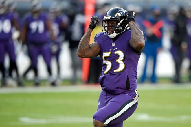 Baltimore Ravens defensive end Jihad Ward reacts after sacking New York Giants quarterback Daniel Jones during a December game. Ward is among several additions to the Jaguars' defensive line.