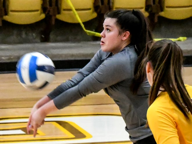 Garden City Community College's Victoria Gehret digs a Dodge City serve Thursday at Perryman Athletic Complex. Gehret has been named this week's NJCAA defensive player of the week.