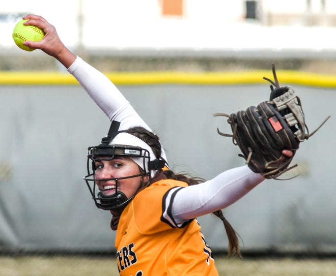 Garden City Community College's Lacey Kearsley winds up to make a pitch to a Northwest Technical batter Thursday in the second game of a doubleheader at Tangeman Sports Complex. The Broncbusters swept the Mavericks on the day.