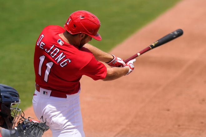 St. Louis Cardinals shortstop Paul DeJong takes a cut during the second inning of a spring training game against the Washington Nationals on Monday, March 15, 2021, in Jupiter, Fla.