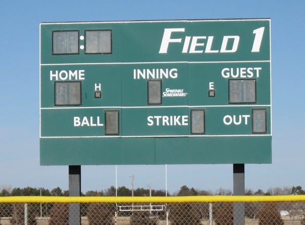 Existing scoreboards, seen here, at the eight ball fields at Bickle-Schmidt Sports Complex are wireless and unreliable, says city of Hays parks director Jeff Boyle, who is proposing the installation in early June of new hard-wired scoreboards that include a panel for sponsorships.