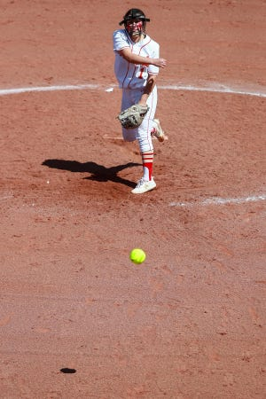 Coronado's Riley Flores (1) pitches against Caprock on March 19 at Rosenow Field.