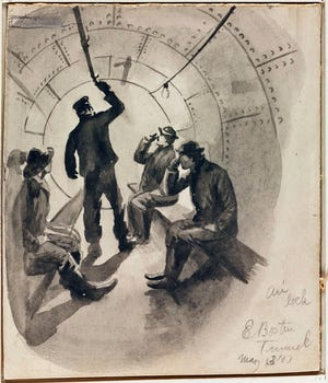 This illustration shows people in an East Boston Tunnel air lock under the harbor in 1903.