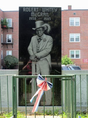 """This statue honoring Robert """"Whitey"""" McGrail was dedicated on Nov. 2, 1986 at a park on East 6th Street in South Boston. He was a well-know, colorful and controversial figure who was gunned down while working at bar he owned in 1985."""