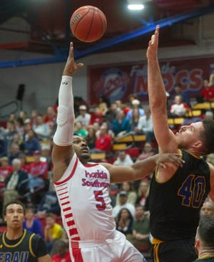 Florida Southern College's DeAndre Campbell is shown here during a game against Embry-Riddle last year in Lakeland. Campbell scored a career-high 25 points on Thursday night in a Sunshine State Conference tournament semifinal win over Palm Beach Atlantic.