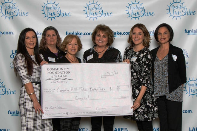 Pictured left to right: Community Foundation of the Lake Board Member Jill Boyd, Camdenton R-III School District Andrea Rhoades, CFL Board Member Jane Wright, Camdenton R-III School District Joi Dickemann, CFL Board Member Christy Wagner, and CFL President Amy Hernandez