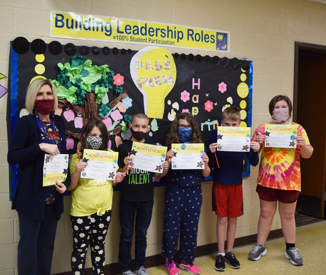 Pictured left to right: Hurricane Deck Elementary Principal Christy Moulder, Bailey Barnes, Camryn Rogers, Carlee Belcher, Clayton Mounts, and Haylee Morris. Not pictured: Chase Graha