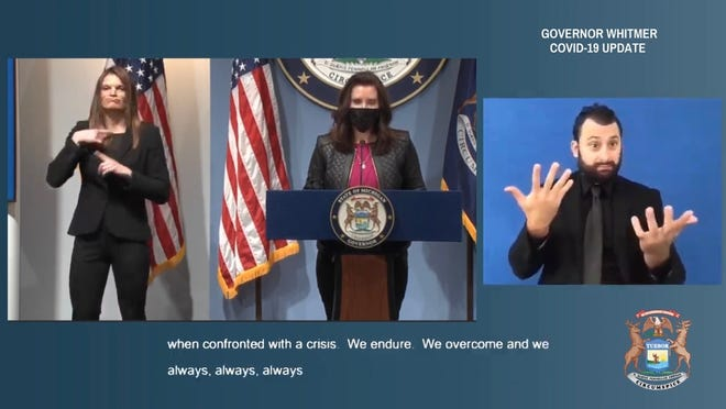 Michigan Gov. Gretchen Whitmer speaks during a remote format press conference held March 19. This is a screen image from the livestream video hosted by State of Michigan.