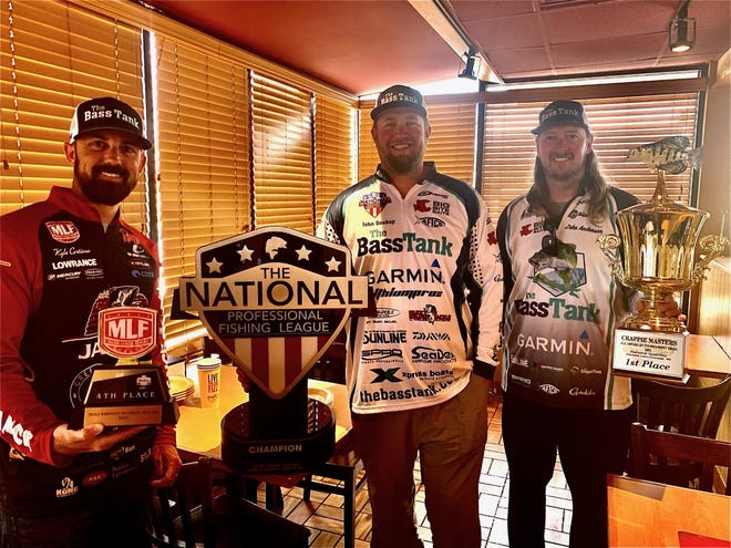 Kyle Cortiana (l-r), John Soukup and Zeke Anderson each pose with trophies they won in major bass and crappie tournaments last weekend. The trio have been friends since junior high and formed a high school fishing club together at Tulsa Union more than 20 years ago.