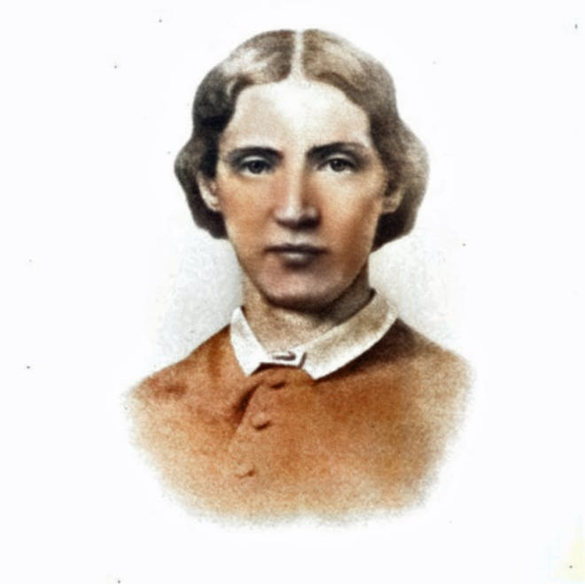 Colorized image of Harriet Ryan Albee (1829-1873) of New Castle, N.H.. who founded the Channing Street for Sick and Destitute Women in Boston. The portrait comes from a 1901 memorial booklet by Unitarian pastor James de Normandie who served at South Church in Portsmouth for 21 years.
