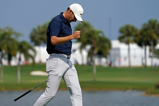 Aaron Wise reacts after making a putt for eagle on the 3rd green during the second round of The Honda Classic golf tournament at PGA National in Palm Beach Gardens on Friday, March 19.