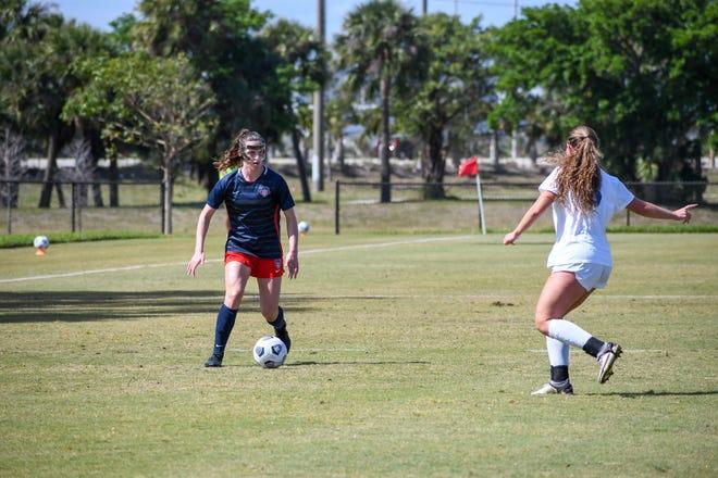 Washington Spirit midfielder Andi Sullivan controls the ball during a preseason game against IMG Academy at Palm Beach Atlantic University in West Palm Beach on March 13th.