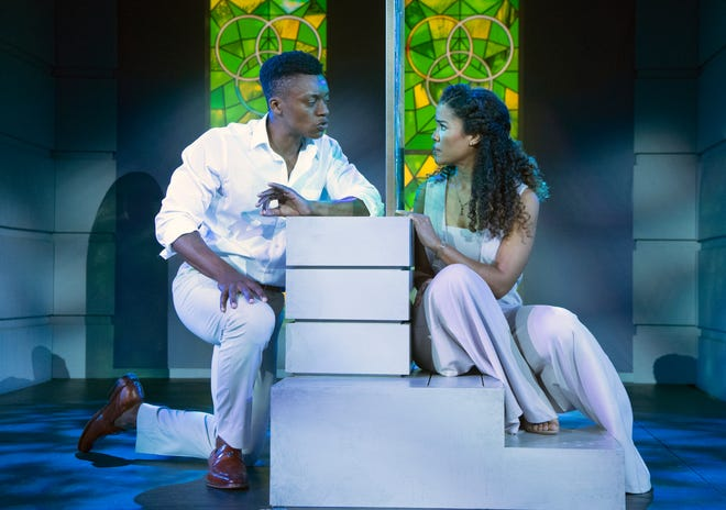 """Alex Joseph Grayson as Lancelot and Britney Coleman as Guenevere in Asolo Repertory Theatre's outdoor production of """"Camelot."""""""