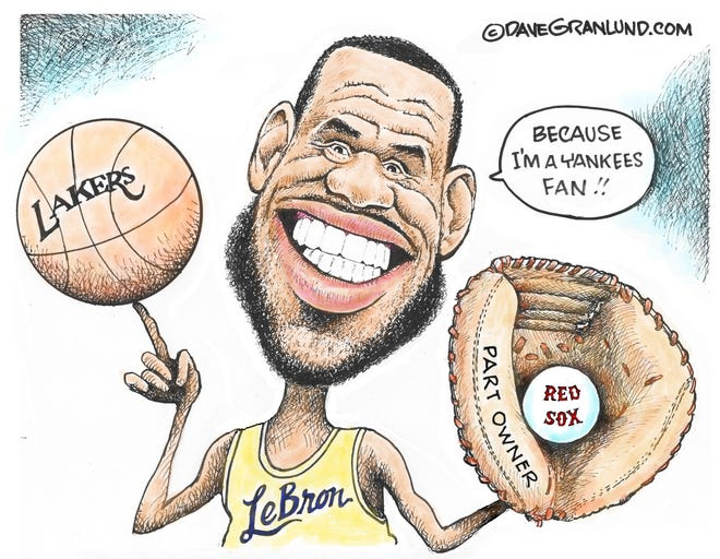 Granlund cartoon: New part owner Dave Ganlund cartoon on LeBron James and the Boston Red Sox.