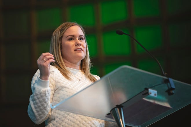 Ashlyn Portero, executive director at City Church in Tallahassee, Florida, delivered the chapel address March 17 in Raley Chapel's Potter Auditorium.