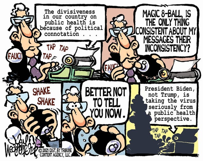 Weatherford cartoon: Fauci's consistency Joey Weatherford cartoon on Dr. Anthony Facui.