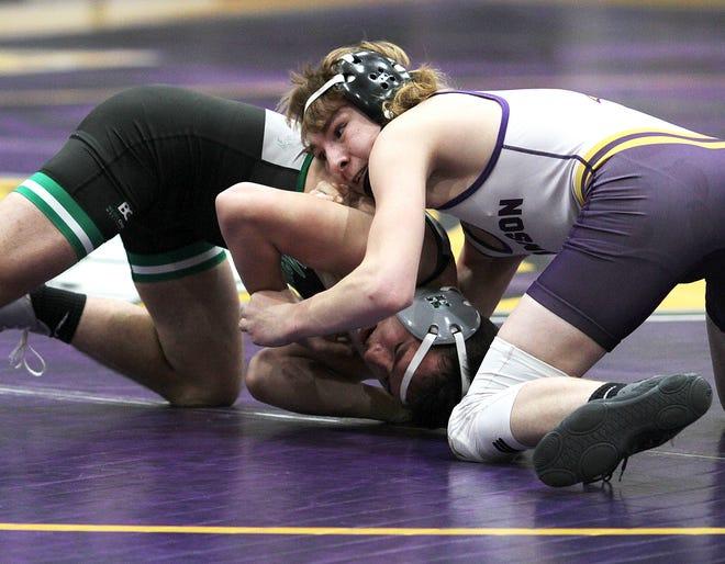 Dakota Miller of Bronson beat Mendon's Nathan Vergauwen by pinfall at 125 pounds.
