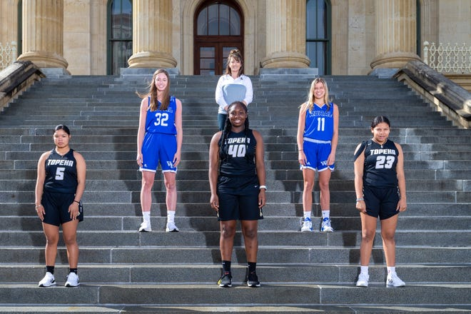 The Topeka Capital-Journal's 2021 All-City Girls Basketball team. Front row (left to right): Lilly Smith, Topeka High; NiJaree Canady, Topeka High; Kiki Smith, Topeka High. Back row: (L to R): Brooklyn DeLeye, Washburn Rural; Coach of the year Hannah Alexander, Topeka High; Emma Krueger, Washburn Rural.