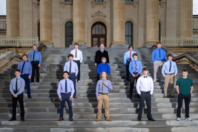 2021 Boys All-City Wrestling team. Front row (left to right): Jonathan Morrison, Washburn Rural; Jacob Tangpricha, Washburn Rural; Bishop Murray, Washburn Rural; Kyle Adams, Seaman and Cole Parrish, Shawnee Heights. Middle row (L to R): Austin Fager, Washburn Rural; Caden Walker, Shawnee Heights; Nick Vincent, Washburn Rural; Joey Hilton, Shawnee Heights and Bowan Murray, Washburn Rural. Back row (L to R): Remington Stiles, Washburn Rural; Jaxson Thomas, Seaman; Coach of the Year Damon Parker, Washburn Rural; Garrett Peery, Shawnee Heights and David Huckstep, Washburn Rural.