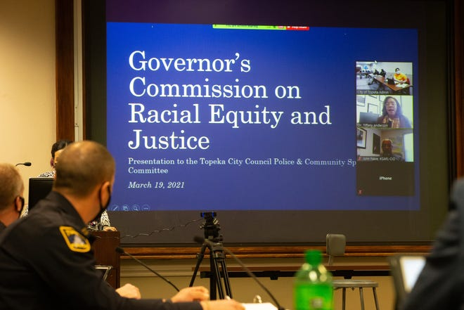Tiffany Anderson, USD 501 superintendent, leads off a presentation over the Governor's Commission on Racial Equity and Justice during Friday's Police and Community meeting at the Law Enforcement Center, 320 S. Kansas Ave.