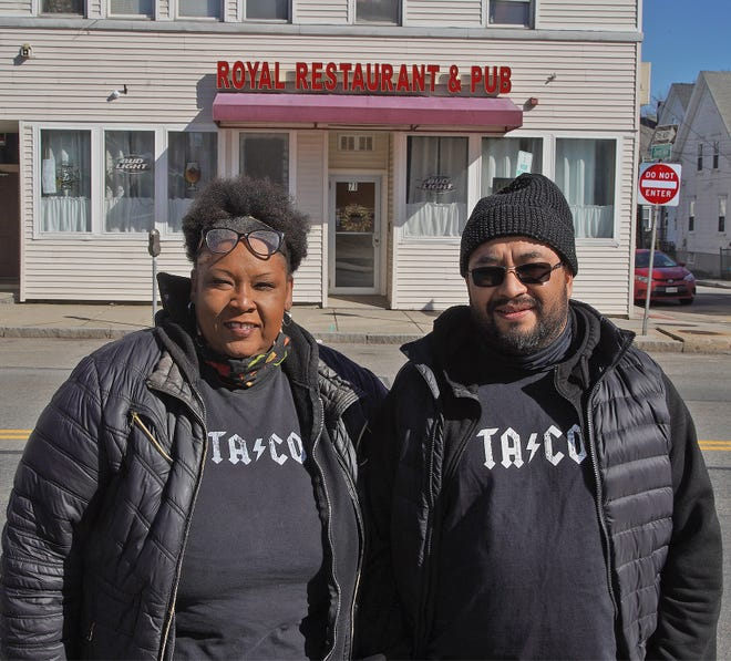 """""""Los Jefes"""" owners, from left, Nikki Irving and Eduardo Miralrio plan to open a Latin-Caribbean restaurant at 71 Broadway in Taunton, seen here on March 15, 2021."""