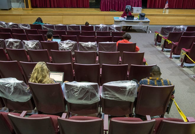 The auditorium is used as a classroom with students using every third row and every third seat to maintain proper distancing Friday in Fitchburg High School.