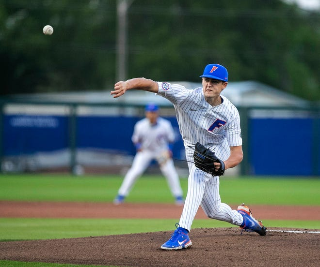 Tommy Mace brought the heat Thursday night against Texas A&M at Florida Ballpark. He went seven innings, allowed six hits, four runs, two of them earned, didn't walk a batter and struck out 11 in the Gators' 13-4 win.